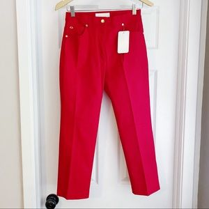 Escada Red High Waisted Straight Leg Pants Size 6